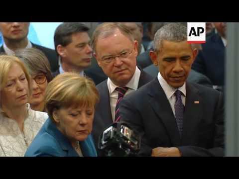 Obama and Merkel tour technology fair