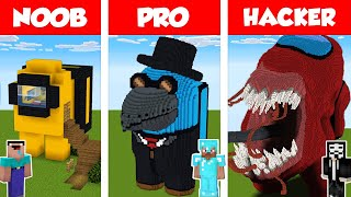 Minecraft NOOB vs PRO vs HACKER: AMONG US HOUSE BUILD CHALLENGE in Minecraft / Animation