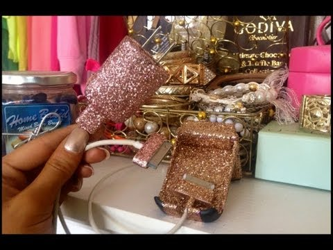 ♡How To Bedazzle Your Phone Case, Charger Or Cord♡Glitter Glam DIY♡