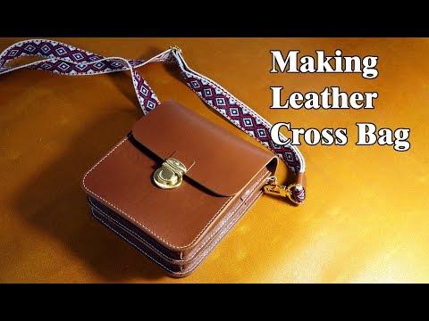 36 [Leather Craft] Making Leather Cross Bag / [가죽공예] 가죽 크로스백 만들기 / Free Pattern