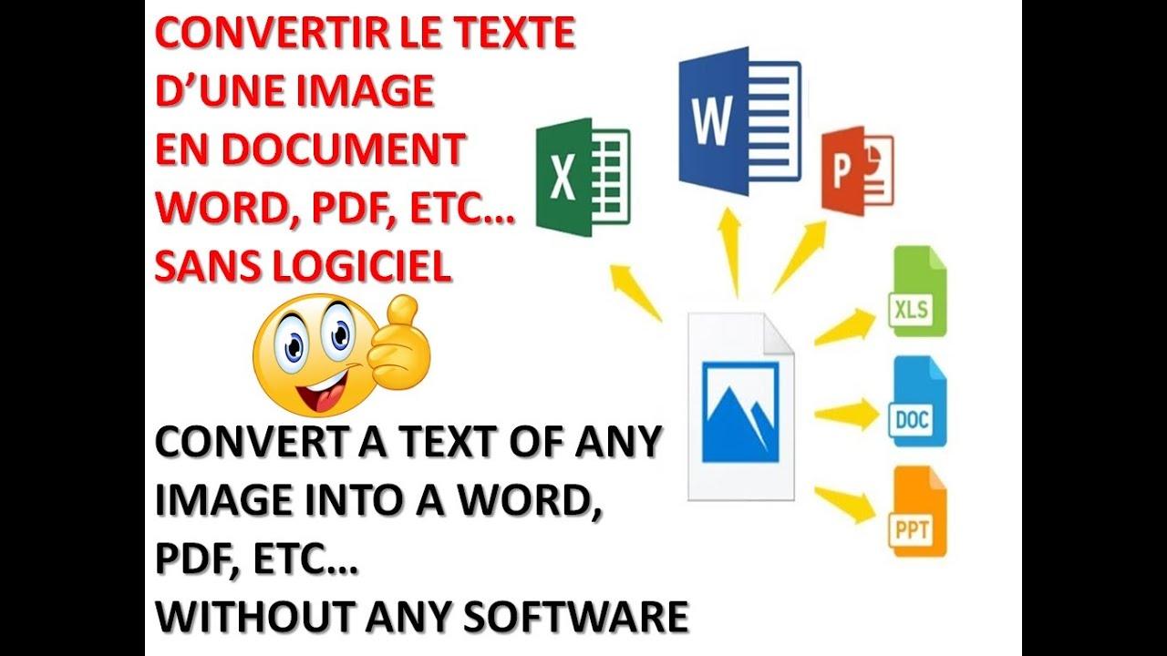 comment convertir facilement une image en un fichier word ou pdf sans saisir et sans logiciel