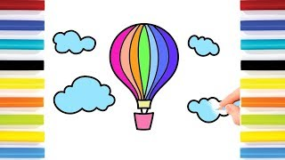 How to Draw Colorful Rainbow Parachute | Coloring Pages for Kids | Art Colors for Children