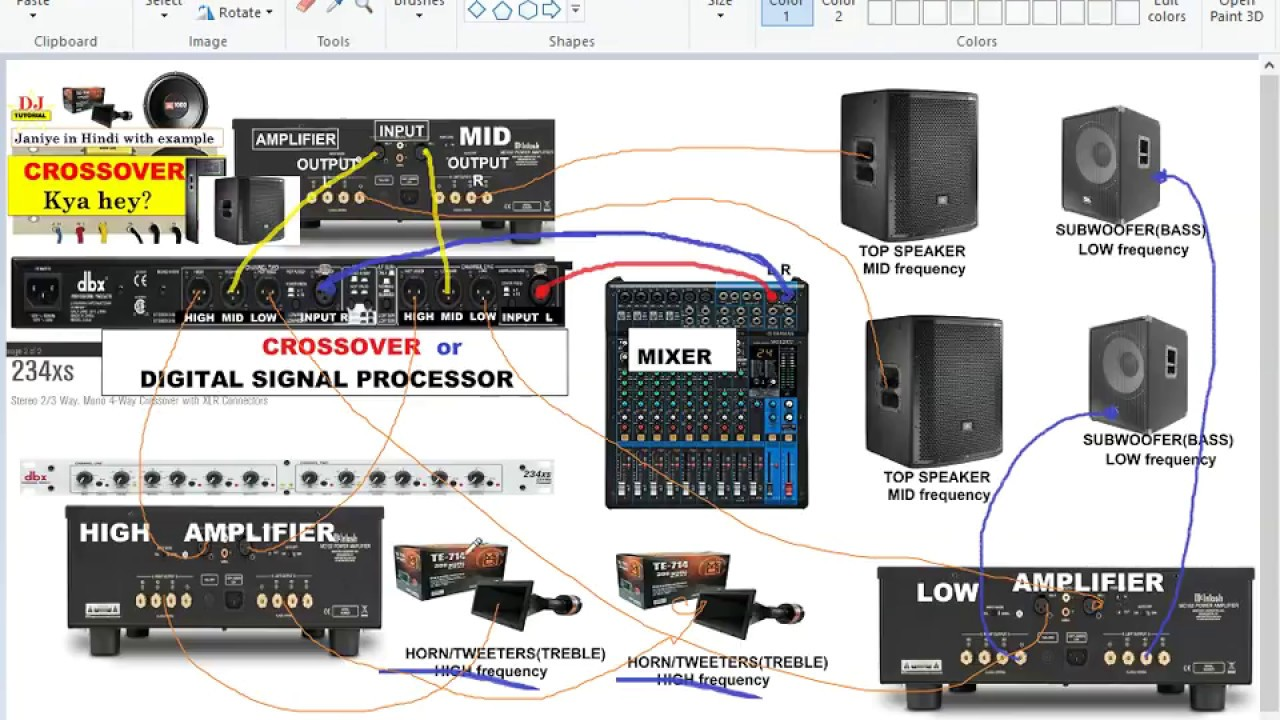 small resolution of crossover amplifier speakers mixer connection details hindi youtube crossover cable color code dbx crossover wiring diagram