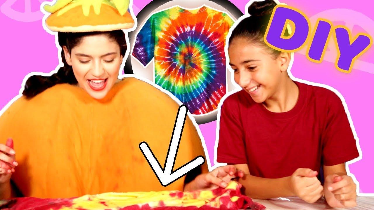 فوزي موزي وتوتي - فقرة المندلينا - صبغ بلوزة - DIY tie dye