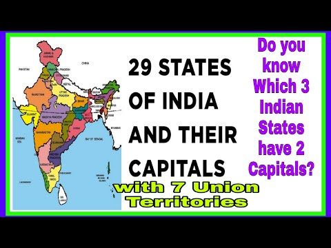 NAME OF 29 STATES And 7 UNION TERRITORIES OF INDIA WITH THEIR CAPITALS & OFFICIAL LANGUAGE