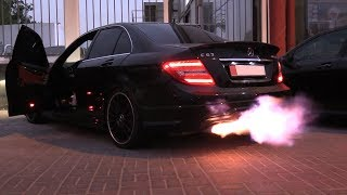 [ARAB STYLE] Mercedes C63 AMG - DUO FLAME THROWERS + BURNOUTS On The ROAD!!