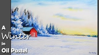 Oil Pastel Painting | How to Paint a Winter Landscape