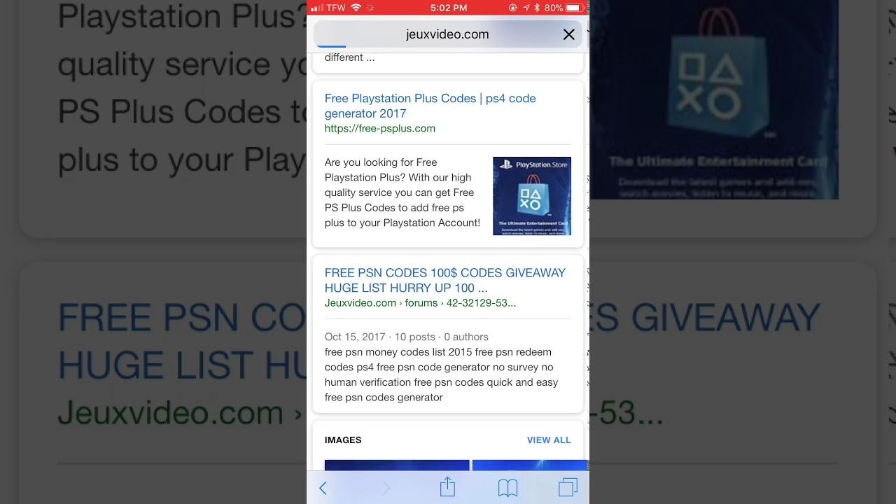 free psn codes list