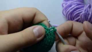 Видеоурок 3.Меняем цвет пряжи при вязании крючком+Сбн+Вп.от Бени :3