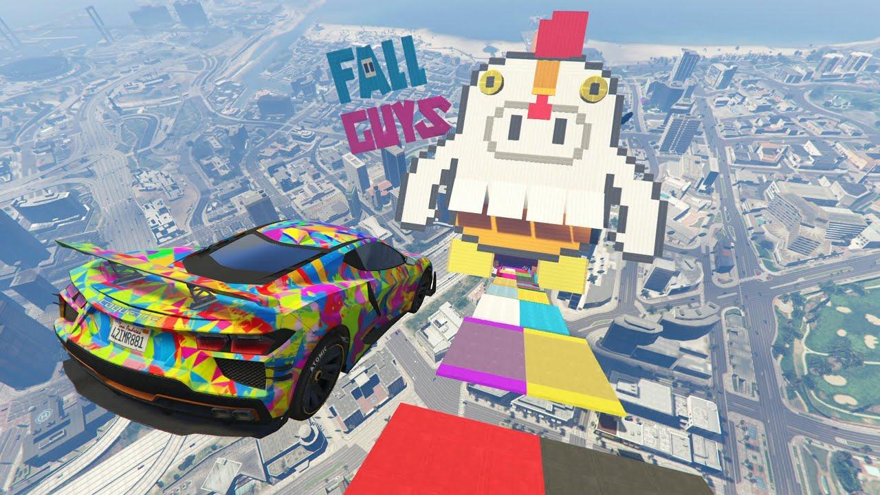 MEGA RAMPA 99% IMPOSIBLE!! NIVEL FALL GUYS! - GTA V ONLINE