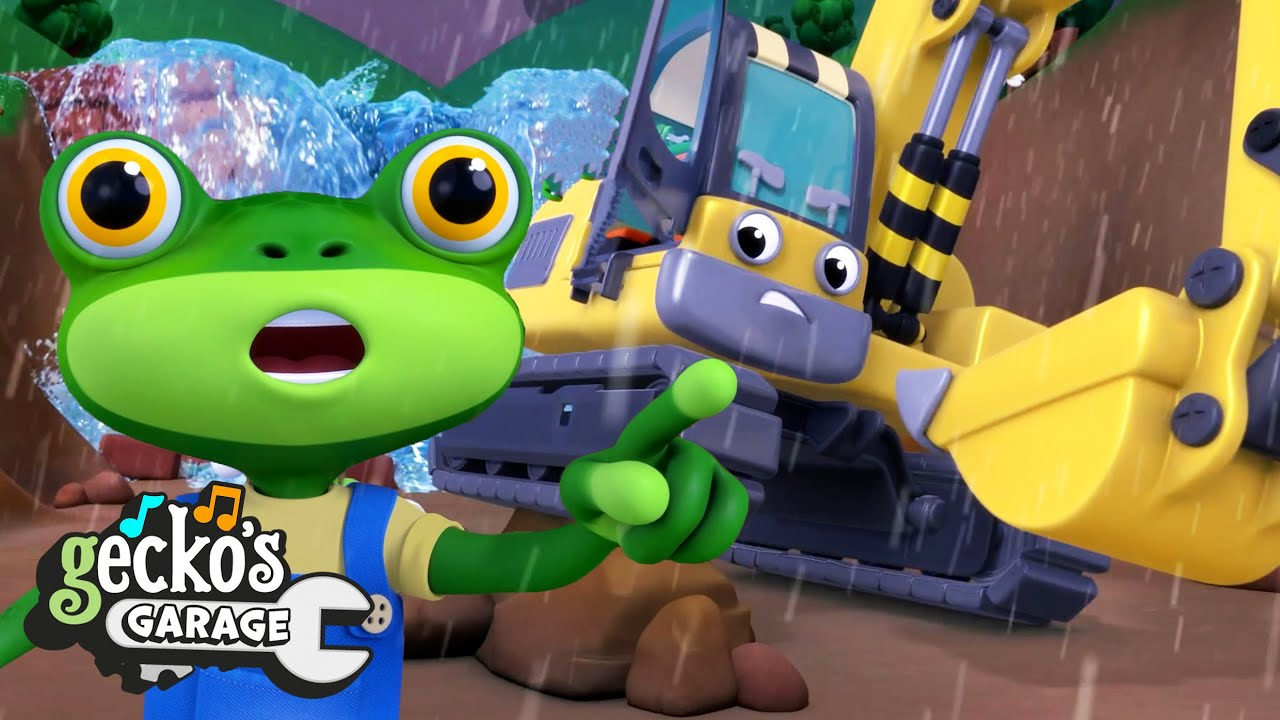 A Rainy Day Rescue | Gecko's Garage | Trucks For Children | Cartoons For Kids