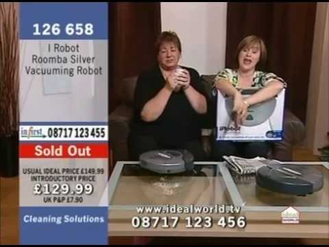 I Robot Roomba Silver Robotic Vacuum Cleaner Being Demonstrated on Ideal World Home Shopping Channel