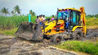JCB machine stuck in heavy mud   JCP   jcd   come to village