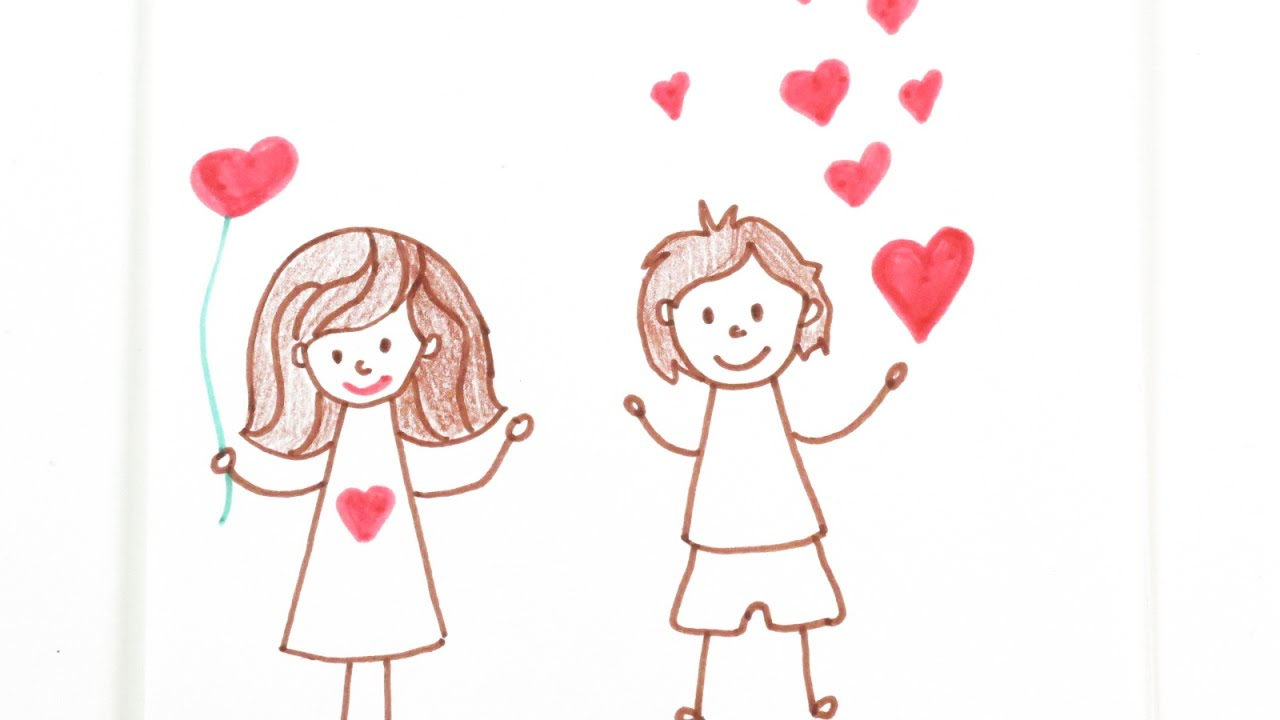 Valentine S Day Diy Drawing Boy And Girl Cute Valentine S Day