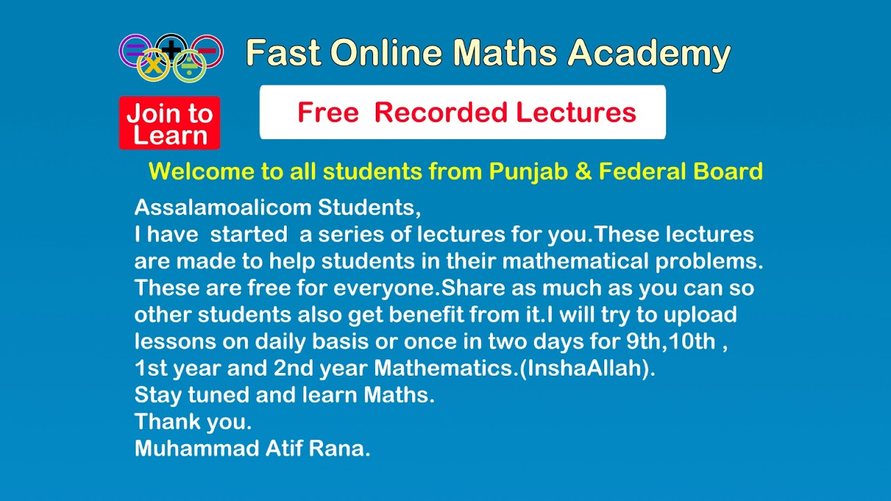 Welcome to Fast Online Maths Academy - YouTube