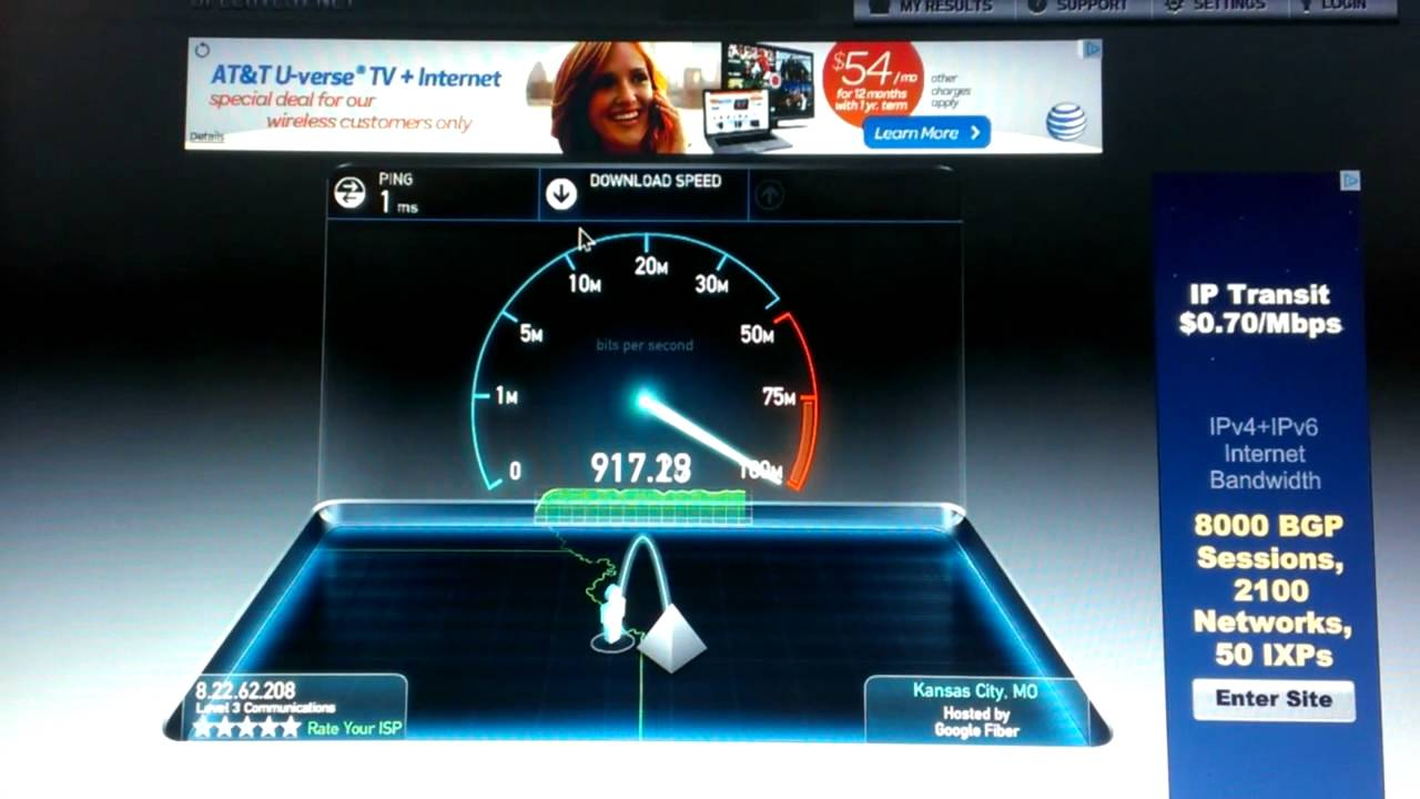 Google Fiber Speed Test  YouTube