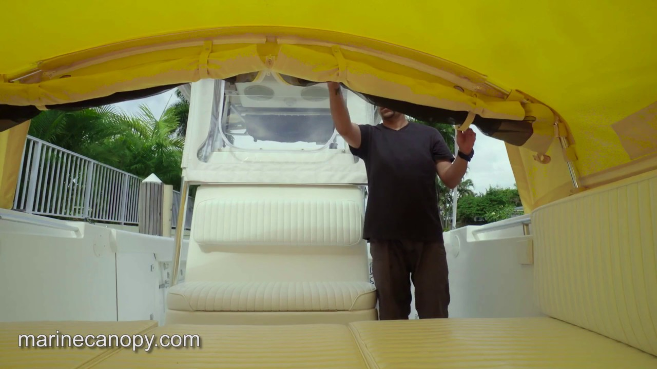 Marine Canopy - The Element - Boat Shade for center console boats - Functionality Video & Marine Canopy - The Element - Boat Shade for center console boats ...