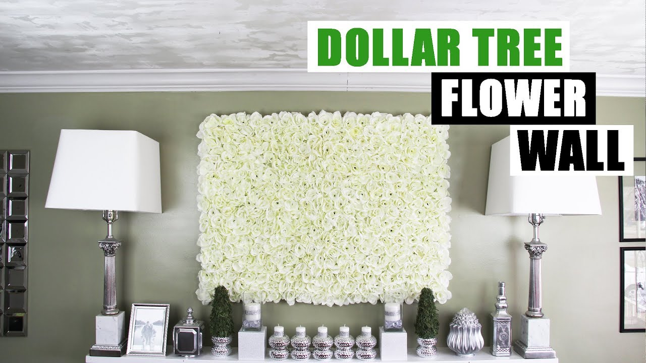 Diy dollar tree flower wall diy floral wall home decor for How to make decorative wall hangings at home