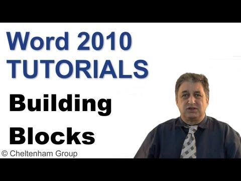 Word 2010 Tutorial | Building Blocks | Full Training Course
