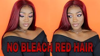 Black to Red Hair NO BLEACH| Brazilian Straight Hair ft. Tinashe Hair