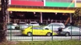 Taxi, repeatedly ramming and Uber car