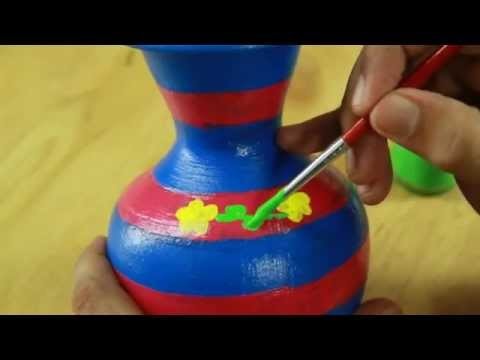 Pot painting craft youtube for Design patterns for pot painting