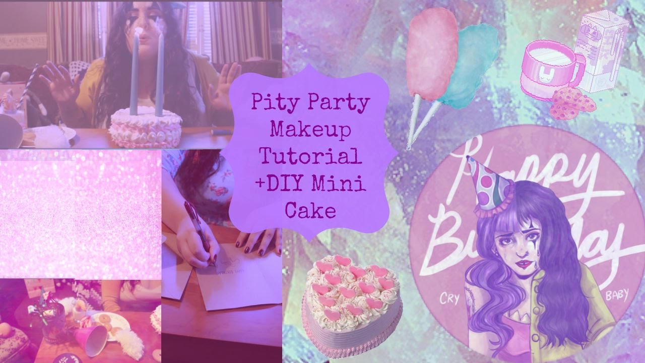 Melanie Martinez Pity Party Makeup Tutorial +DIY Mini Cake! - YouTube