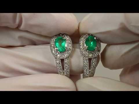 εντυπωσιακό διαμάντι και Κολομβίας σμαραγδένια σκουλαρίκια 2,82 καράτια