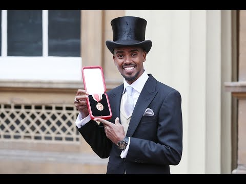 Mo Farah receives a Knighthood from The Queen
