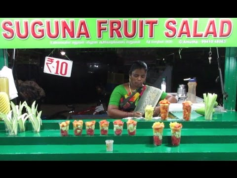 Fruit Salad in Marina Beach - Indian Street Food Chennai - Street Food India || Food at Street