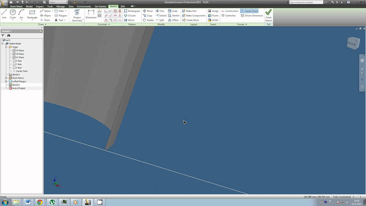 How To Create A Sheet Metal Cone In Inventor 2011 Youtube