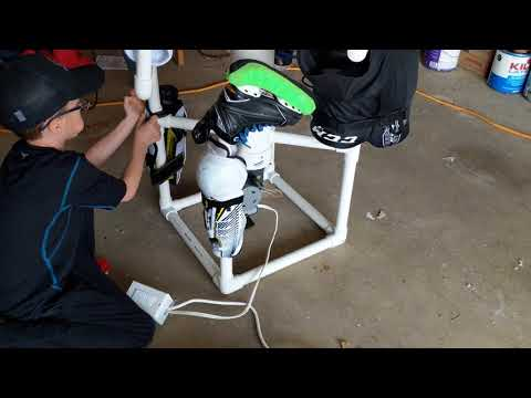 Hockey Equipment Drying Rack With Timer Controlled Blower Fan