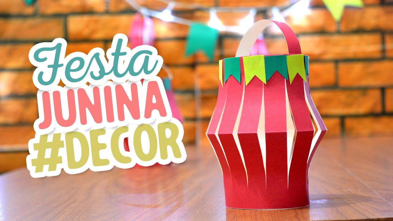 Decoraç u00e3o fácil para Festa Junina Lanternas de papel YouTube # Decoração De São João Com Material Reciclado