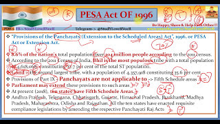 L-114- PESA Act 1996- Provisions of the Panchayats (Extension to Scheduled Areas) Act,Extension Act