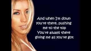 Christina Aguilera: I Turn To You w/ lyrics on screen