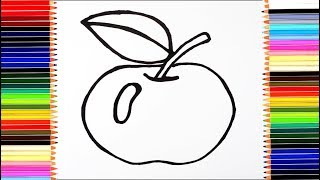 как нарисовать яблоко /  мультик раскраска фрукты для детей  / учим цвета