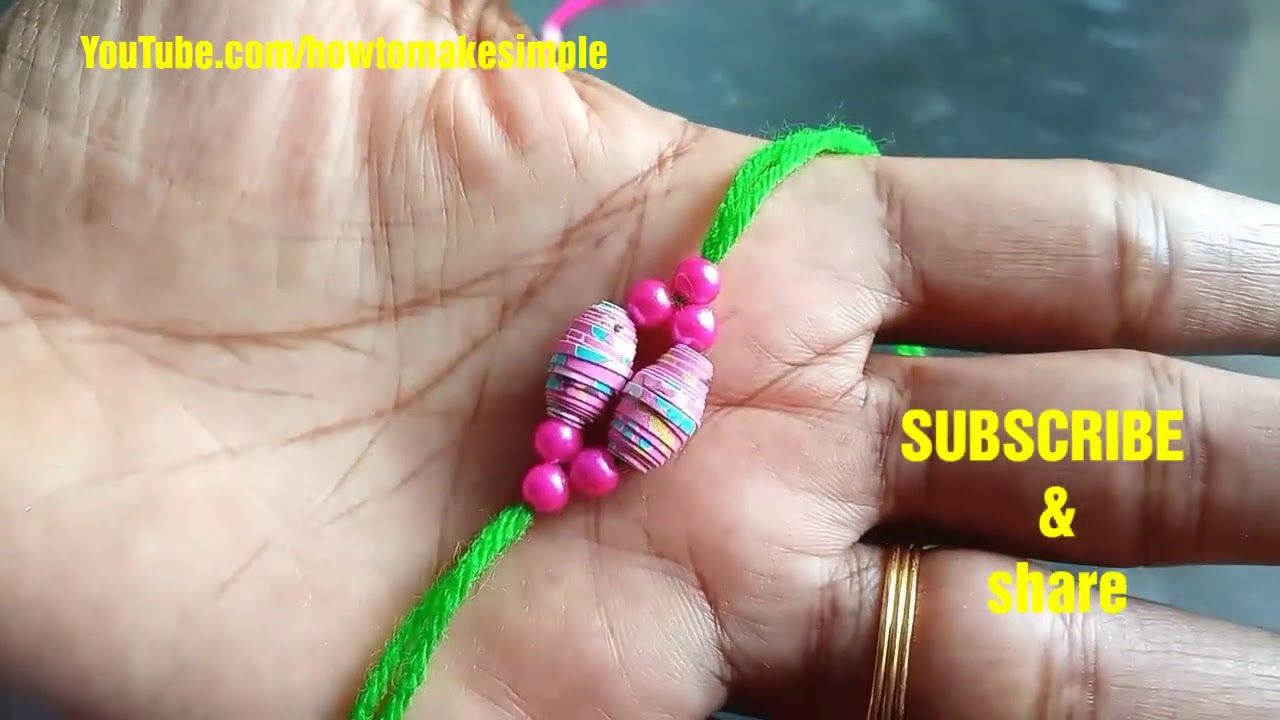 how to make simple Rakhi from paper beads | H2MS rakhi | Raksha Bandan | diy rakhi 2020, bracelets
