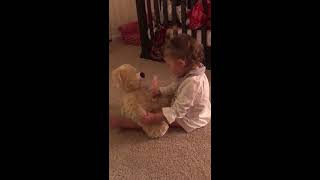 Father is deployed and Daughter received bear with Dads recorded voice. thumbnail