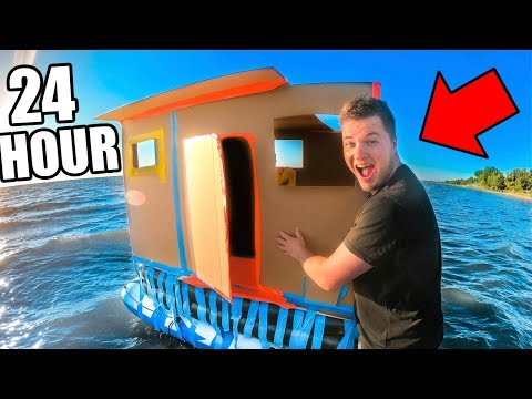24 HOUR BOX FORT BOAT ON THE OCEAN!! GONE WRONG!
