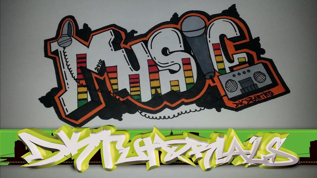 Step Draw Graffiti Letters - Music