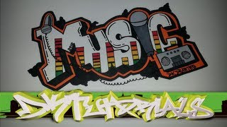 Step by step how to draw graffiti letters - Music