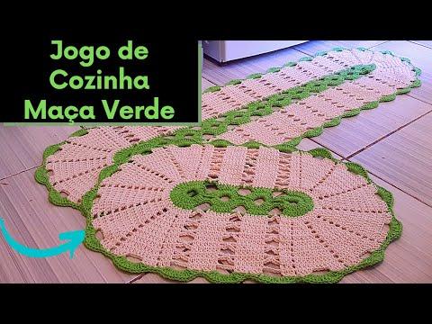 Jogo de Cozinha em crochê - Maçã Verde - Lindo, prático e econômico.