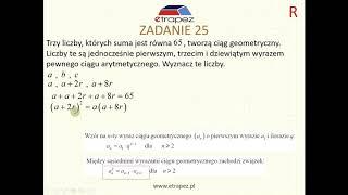 Ciąg arytmetyczny i geometryczny - zależność wyrazów (Kurs Matura Rozszerzona cz.2 eTrapez)
