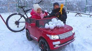 ЧЕЛЛЕНДЖ Снег против Машины и Велосипеда УРААА Много СНЕГА Игры в СНЕЖКИ для детей CHALLENGE