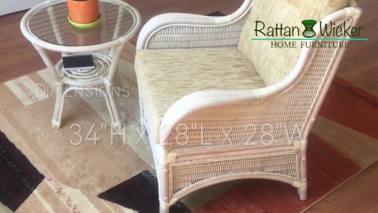 Rattan Wicker Armchair Angel Color White Wash With Cushions