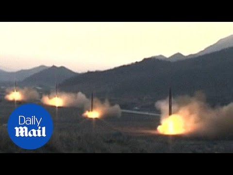 North Korea state media shows launch of four ballistic missiles - Daily Mail