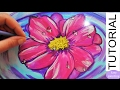 How to paint a Pink FLOWER on WATER with Water Drops. Step by Step Acrylic tutorial for beginners