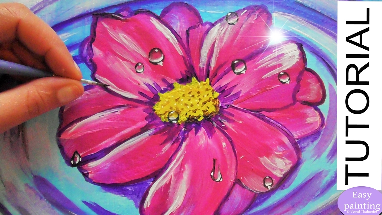 How to paint a Pink FLOWER on WATER with Water Drops. Step ...