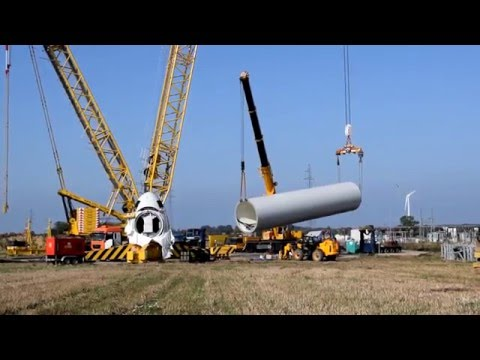 Building a  Wind Turbine GE, entire assembly process (timelapses, landscapes)