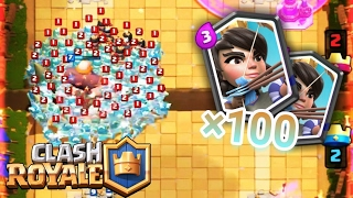 100 Princess attacking at the same time | Clash Royale [By Mike: v]